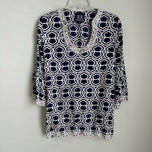 Escapada Blue Print Embellished Sequin Tunic